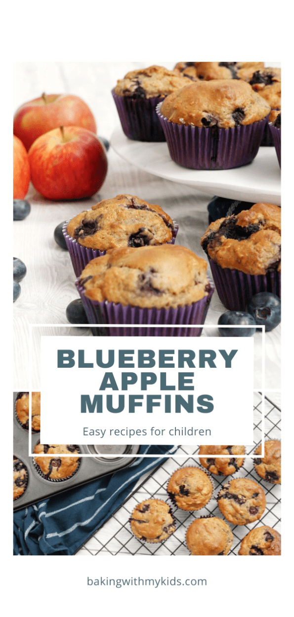 blueberry and apple muffins graphic with a text overlay