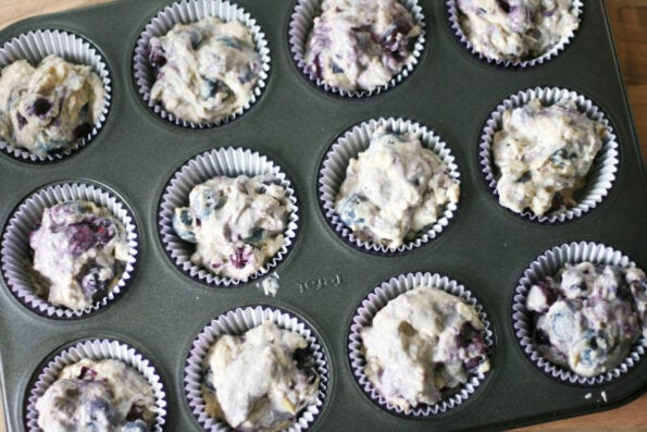unbaked blueberry and apple muffins in a muffin tin