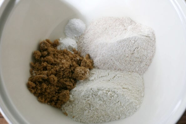 flour and sugar in a bowl
