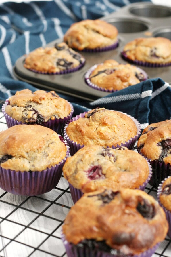 Blueberry and apple muffins on a wire rack