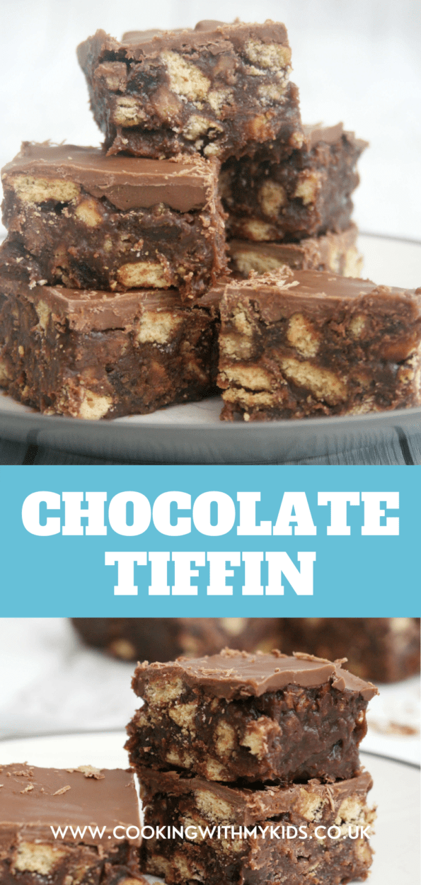 Chocolate tiffin in a pile with a text overlay