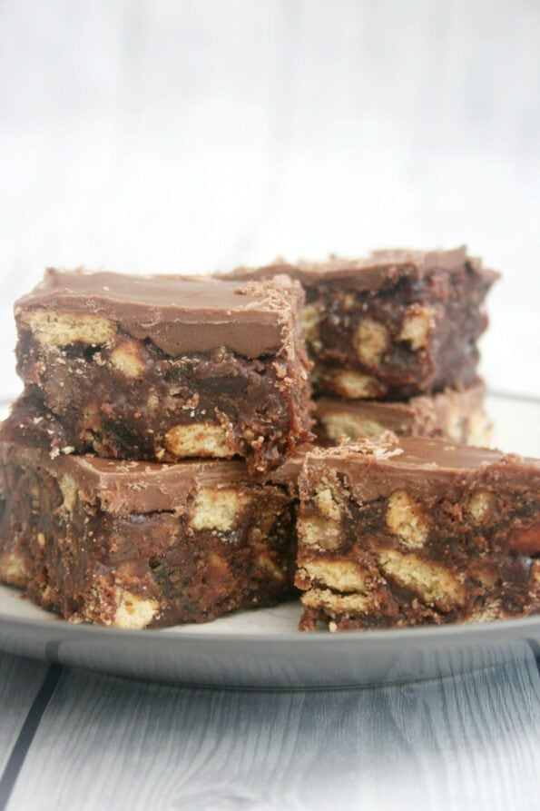 Chocolate tiffin piled on a plate