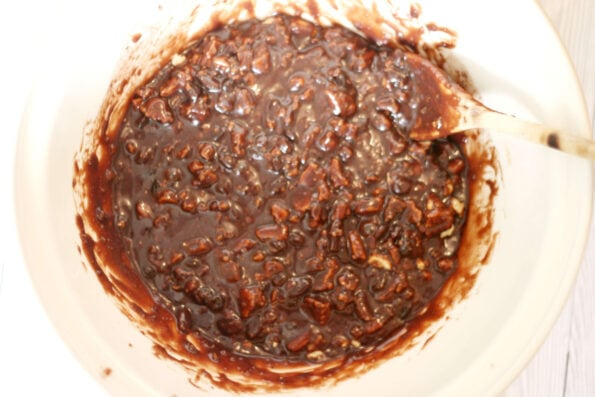 chocolate tiffin mixture in a bowl