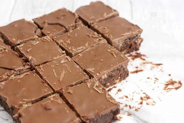Chocolate tiffin cut into squares