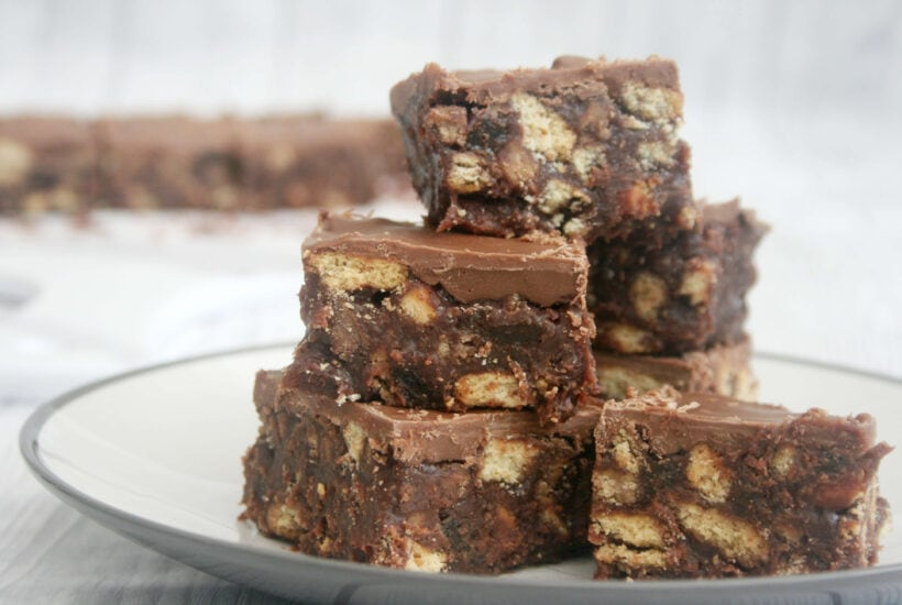 Chocolate tiffin in a pile