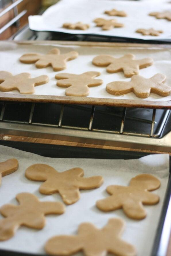gingerbread men on baking trays.