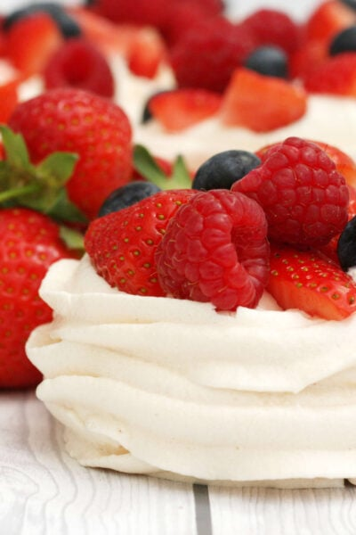 meringue nests filled with fruit