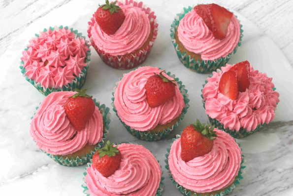 strawberry cupcakes on a serving plate