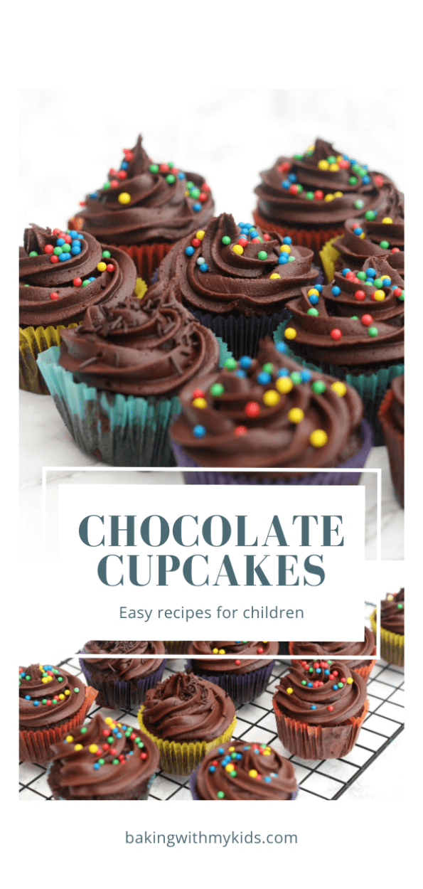Mary Berry's chocolate cupcakes in colurful cases with text overlay 'chocolate cupcakes.'