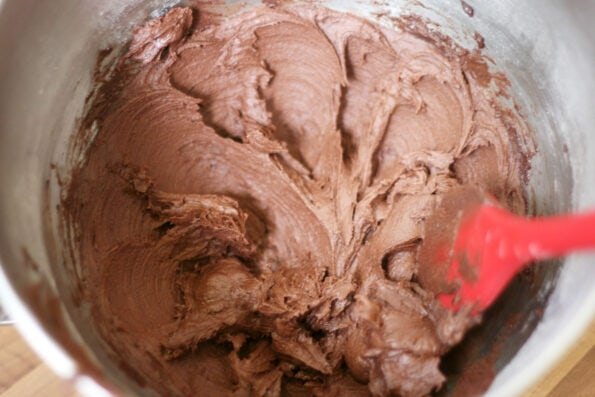 chocolate buttercream in a bowl.