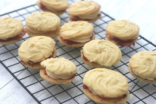 viennese whirls (mary Berry) on a wire rack