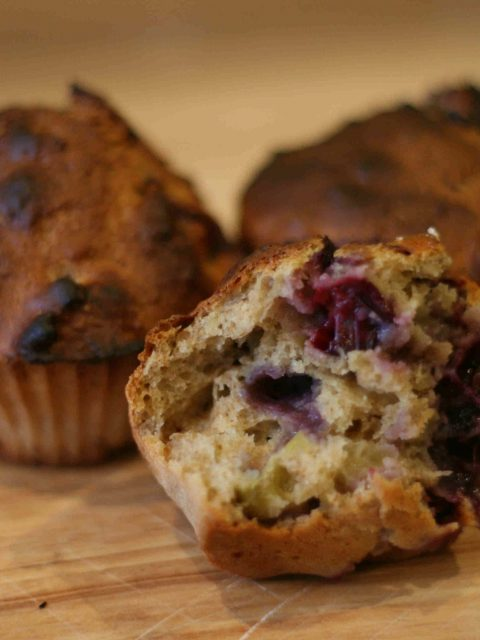 Blueberry and apple muffins