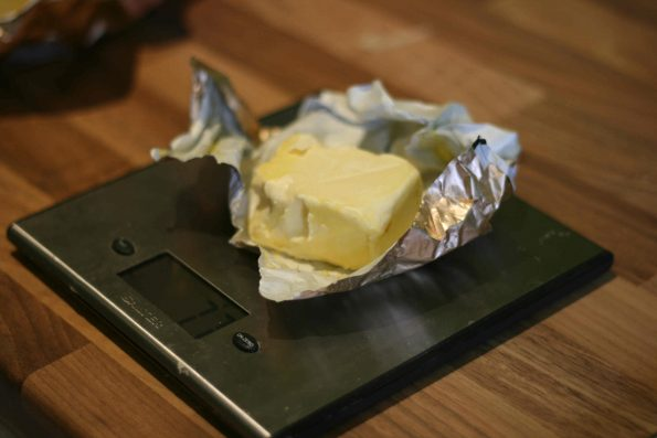 butter measuring on a digital scale