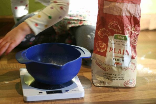 weighing flour for shortbread