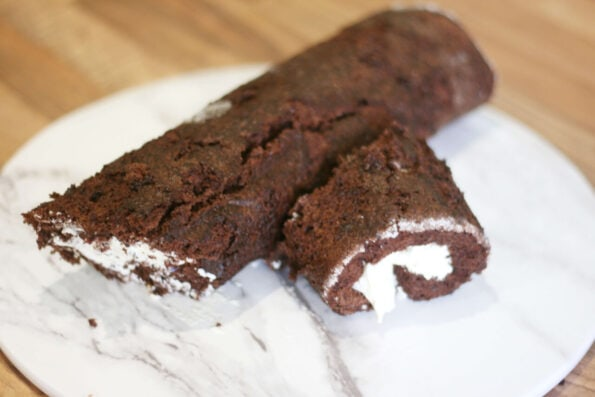 Mary Berry's yule log on a serving platter before being decorated
