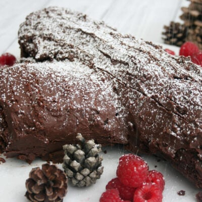 Mary Berry's yule log dusted with icing sugar.