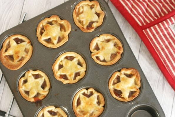 Mince pies in a baking tin