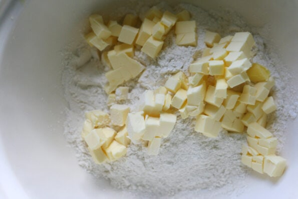 butter and flour in a bowl.
