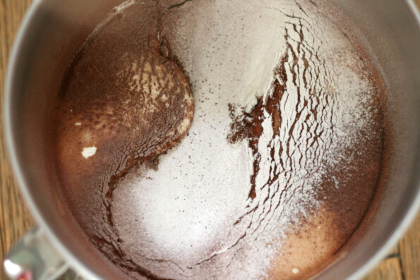 cocoa and flour sifted into a bowl.