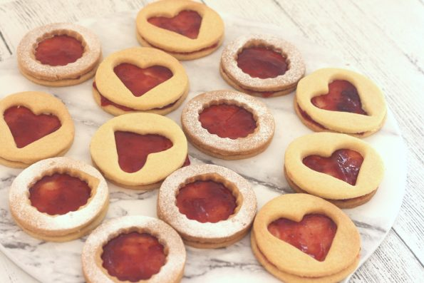 jammie dodgers on a serving plate