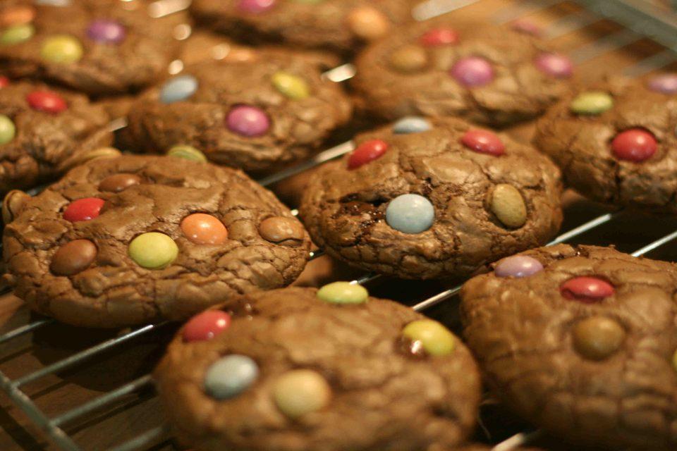 double chocolate smarties cookies