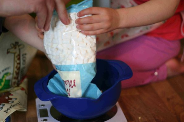 measuring marshmallows for Easter rocky road