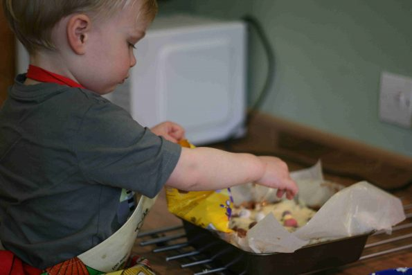 child making Easter rocky road