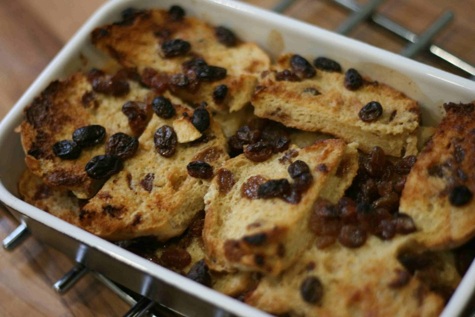 hot cross bun and butter pudding
