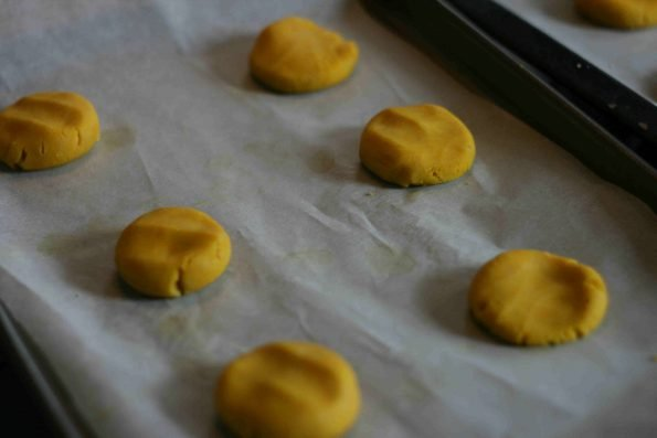 making Easter chick biscuits