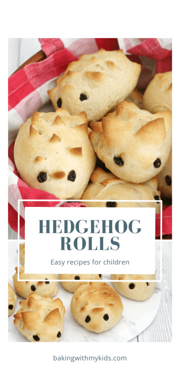 hedgehog rolls graphic with a text overlay
