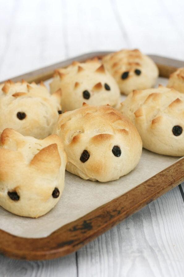 hedgehog rolls on a baking tray
