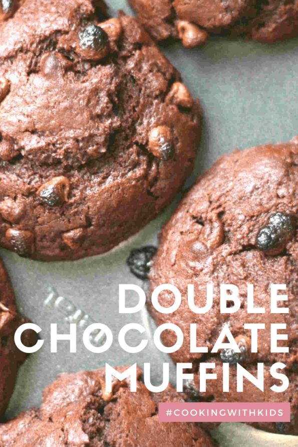 double chocolate muffins with a text overlay