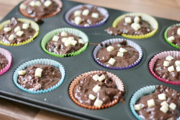 triple chocolate muffins in a muffin tin before they're baked