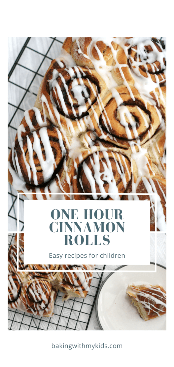 one hour cinnamon rolls graphic with text overlay