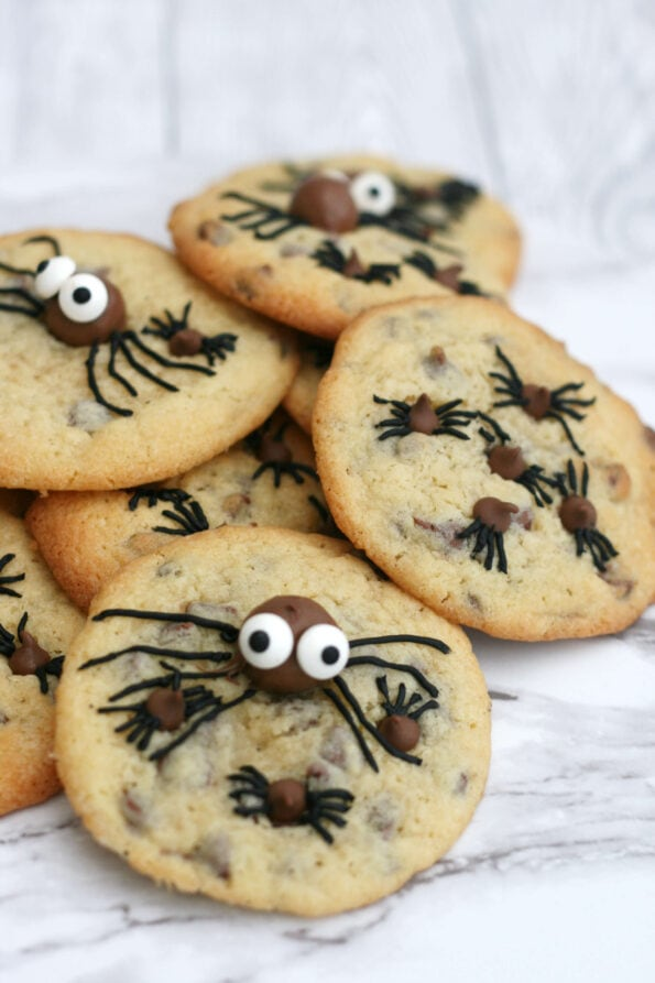 Halloween spider cookies in a pile