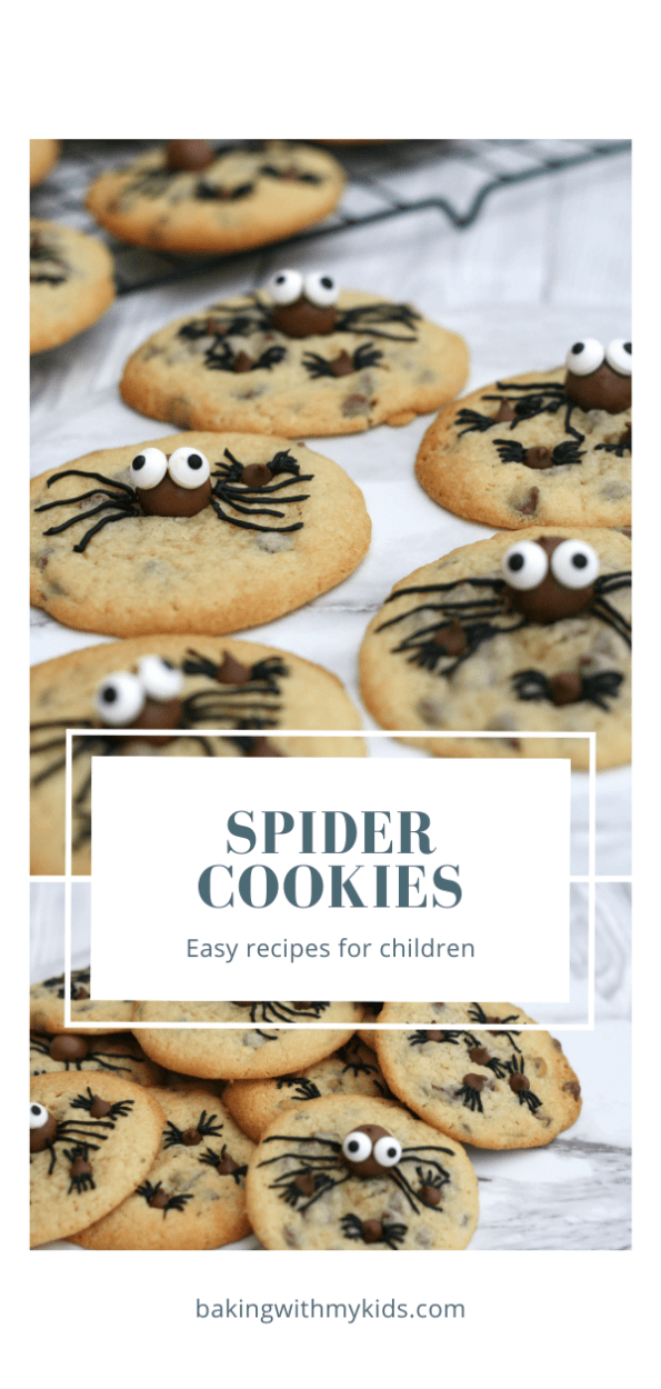 Halloween spider cookies graphic with a text overlay