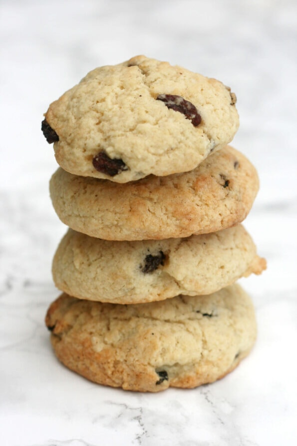 4 rock cakes (rock buns) in a stack