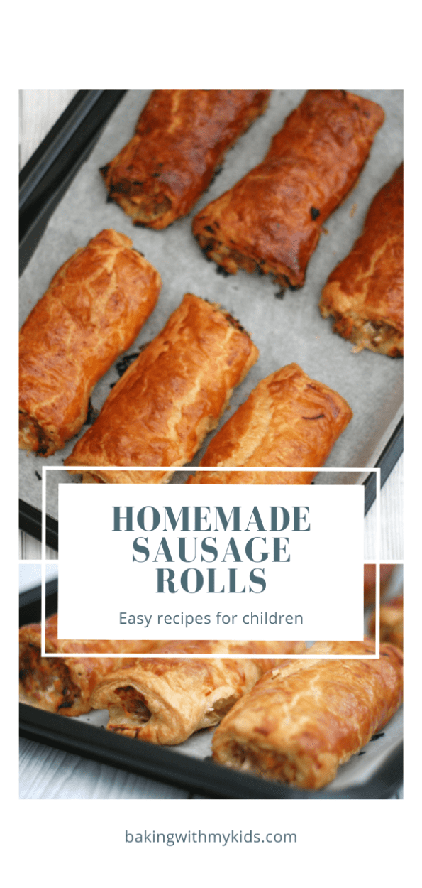homemade sausage rolls graphic with a text overlay.