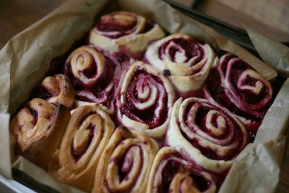 raspberry sweet rolls before they've been iced