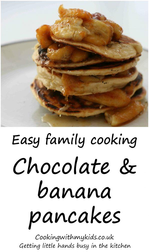 Nutella stuffed pancakes with bananas