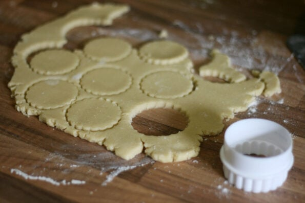 shortbread biscuit being cut out