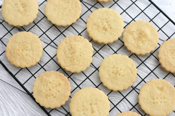 Mary Berry shortbread cooling on a wire rack