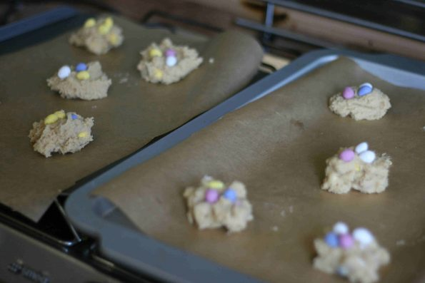 mini egg cookies before they go in the oven