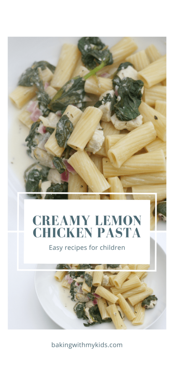 Creamy lemon chicken pasta graphic with a text overlay