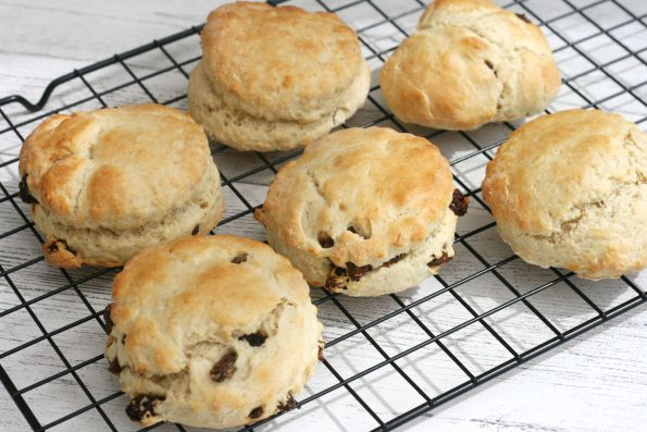 easy fruit scones on a wire rack
