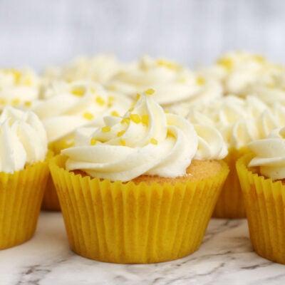 lemon cupcakes in yellow cases