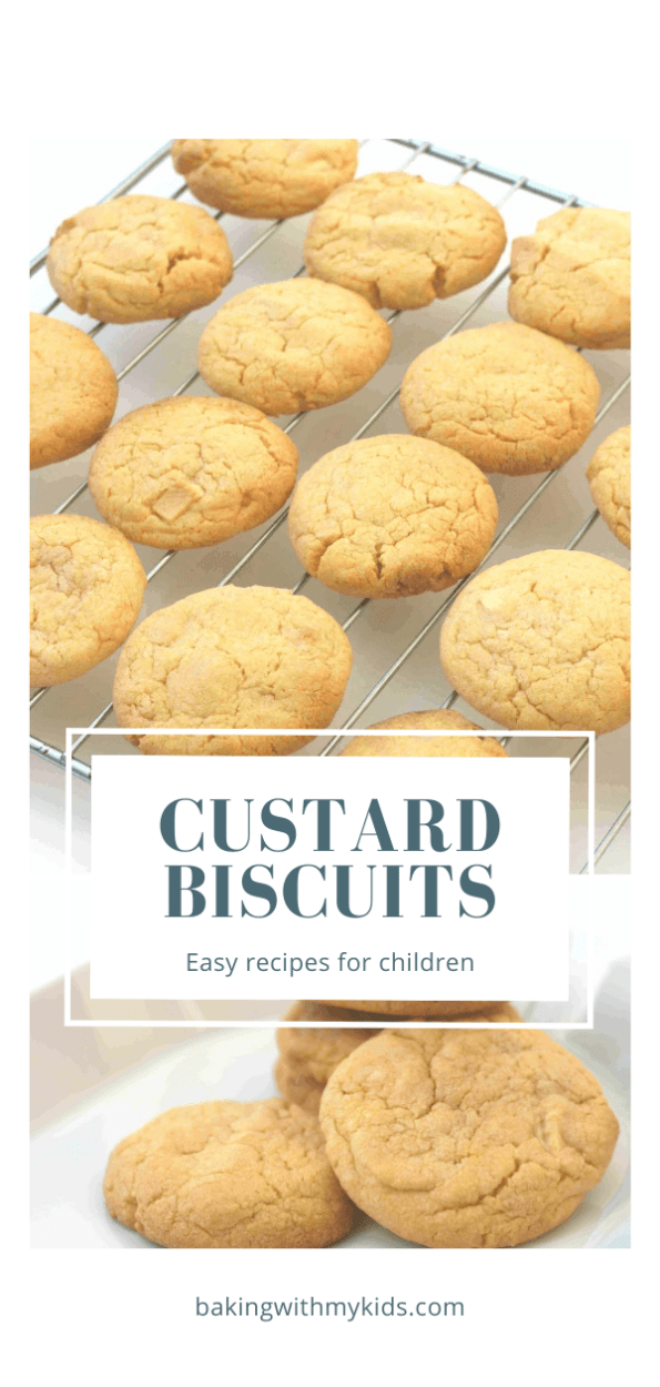custard biscuits on a wire rack graphic with a text overlay
