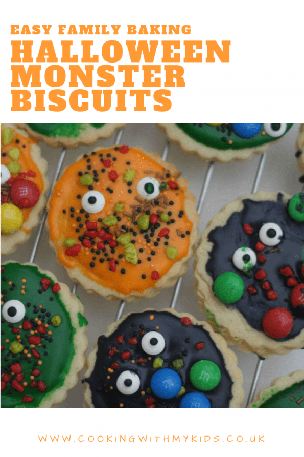 Hallowen monster biscuits graphic with a text overlay