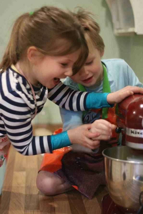kids using a food mixer