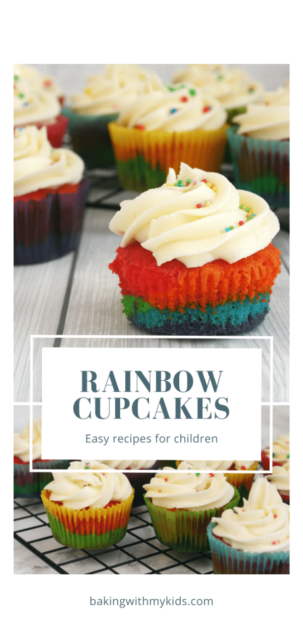 rainbow cupcakes graphic with a text overlay.